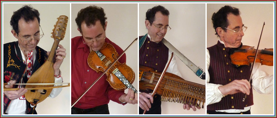 Bruce playing gudulka, hardingfele, nyckelharpa, fiddle